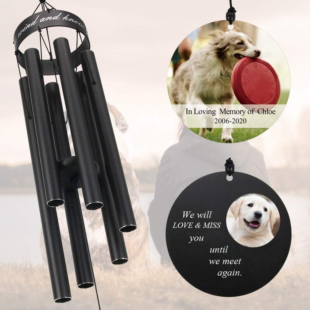 Wind Chimes: Dogs Custom PVC Yard Art Pet Memorial Pekingese with Solar Light
