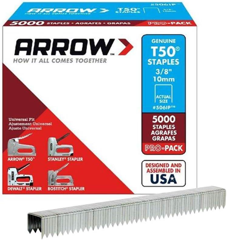 B00004Z2J5 Arrow Fastener 506IP Genuine T50 3/8-Inch Staples, 5,000-Pack 61tZPVZzQfL