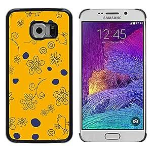 LECELL--Funda protectora / Cubierta / Piel For Samsung Galaxy S6 EDGE SM-G925 -- Navy Blue Orange Drawing Birds --