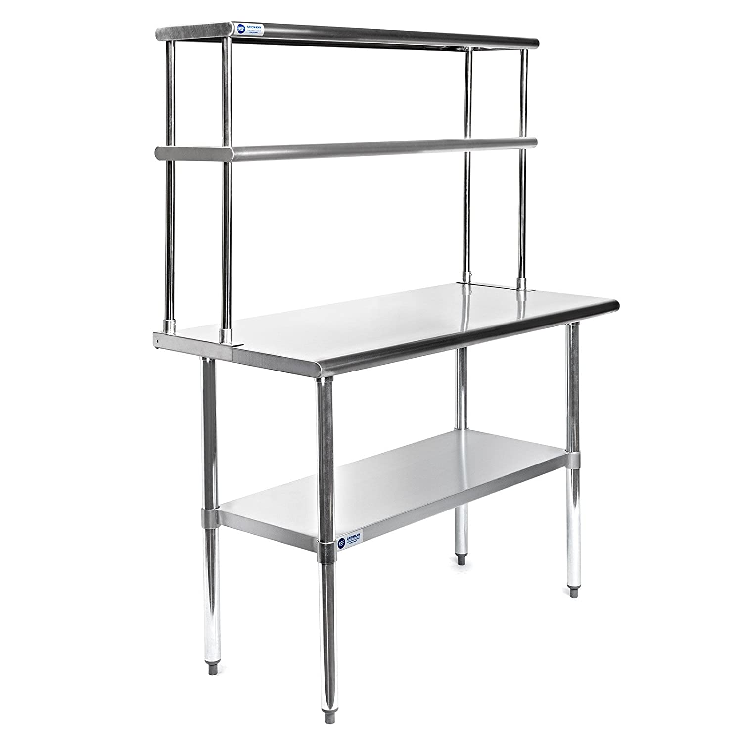GRIDMANN NSF Stainless Steel Commercial Kitchen Prep & Work Table Plus A 2  Tier Shelf - 48 in  x 12 in