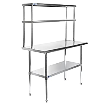 gridmann nsf stainless steel commercial kitchen prep work table plus a 2 tier shelf. beautiful ideas. Home Design Ideas
