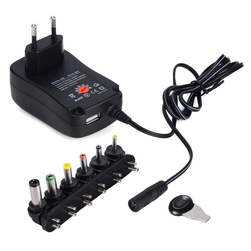 PChero Adaptateur Secteur Universel AC/DC Adapter Switching Power Supply avec 6 Adaptateur Plugs