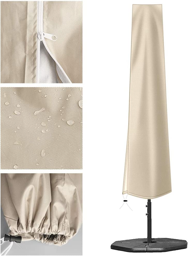 for 9ft to 11ft Garden Outdoor Umbrella OKPOW Parasol Cover 420D Oxford Fabric Waterproof Patio Umbrella Covers with Zip 190 x 30 x 50cm