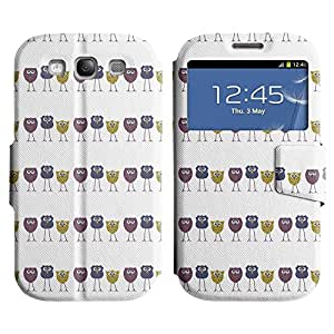 AADes Scratchproof PU Leather Flip Stand Case Samsung Galaxy S3 III i9300 ( Skinny Owl )