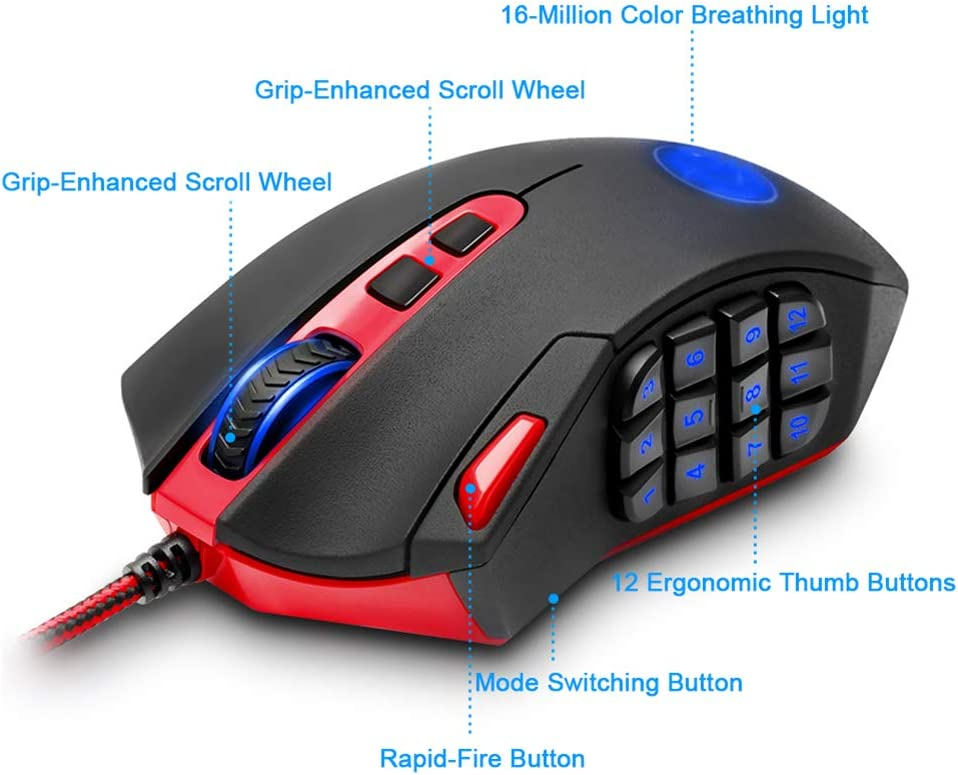 18 Buttons for Windows PC Games QLPP Gaming Mouse Wired Optical High Precision Sensor Programmable MMO RGB LED Mice Weight Tuning Set 16400 DPI