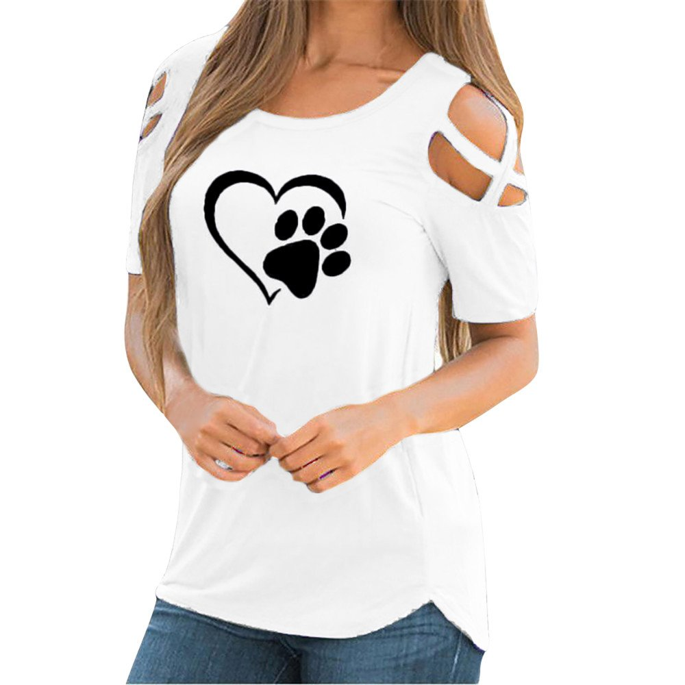 Poccio Cute Short Sleeve T Shirt,Women Summer Paw Printed Strappy Tee Shirt Casual Cold Shoulder Tops Blouses by Pocciol_Womens Blouse (Image #1)