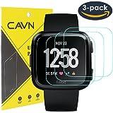 CAVN 3 Pezzi Fitbit Versa Pellicola Protettiva Temperato Protezione Dello Schermo di Vetro per Fitbit Versa Smart Watch [2.5 d Bordo Tondo] [9h Durezza] [Crystal Clear] [Anti-Scratch] [No-Bubble]