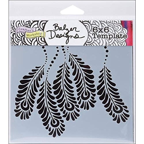 Feather Stencil (Crafters Workshop Template, 6 by 6-Inch, Peacock)