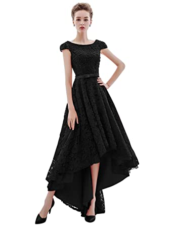 482d82e279d Women s High Low Homecoming Dresses 2019 Beading Lace Prom Gown Size 2 Black