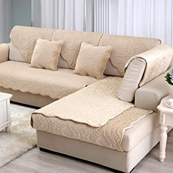 QTQZ Funda de sofá de Felpa,Toalla de Cubierta de la sofá salón Color sólido Invierno Moderno Tela Antideslizante Almohadilla Cubierta-P ...