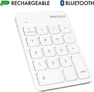 Macally Wireless Bluetooth Numeric Keypad for Laptop, Apple, Mac, iMac, MacBook Pro/Air, Ipad, Windows PC, Tablet, or Desktop Computer - Rechargeable 18 Key Bluetooth Number Pad - White
