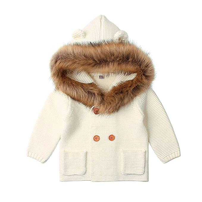 0789c6de8 LQZ Baby Girls Sweater Cardigan Long Sleeve Wool Knitting Hooded ...