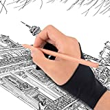 SeaDove Professional Artist Hand Glove for Drawing Graphic Tablet, 2 Fingers Anti-Fouling Free- size, both Hand
