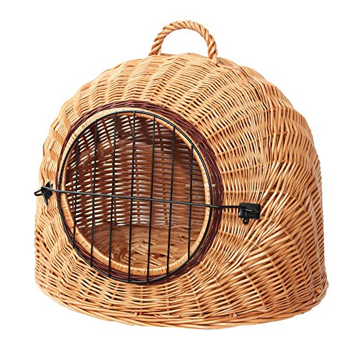 Willow Wicker Wicker Travel Pet Bed, Natural Cat and Dog Carrier, Portable Eco Pet Basket