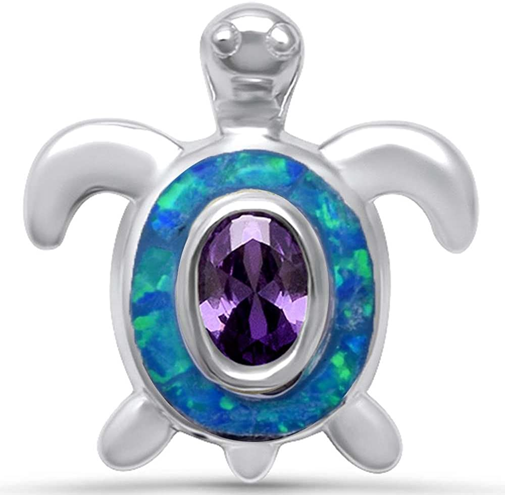Oxford Diamond Co Sterling Silver Cute Lab Created Opal Turtle Pendant