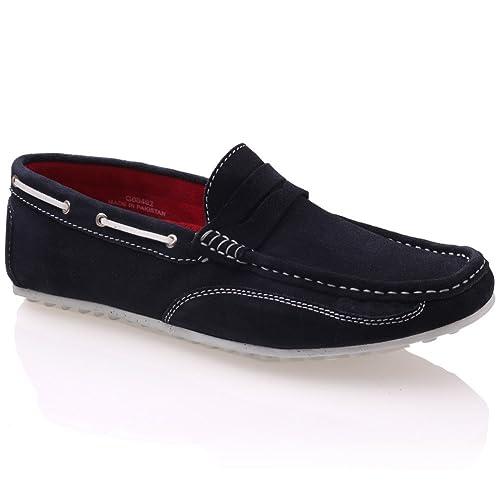 Unze Mocasines de Gamuza de Cuero Slipon Zapatos Hombres Dorin