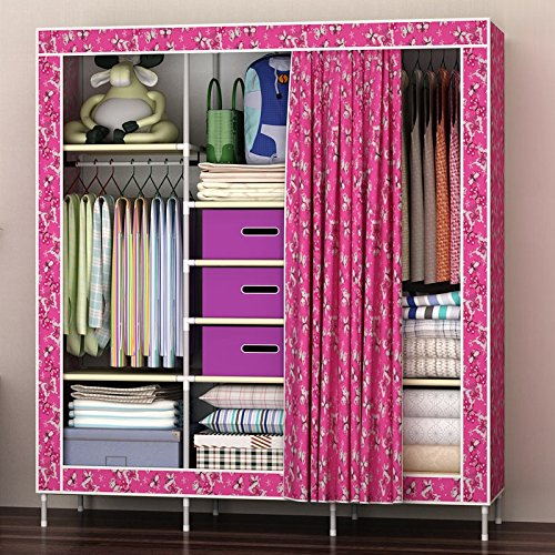 White Butterflies Generic New Super Large Reinforced Portable Wardrobe Closet Armoire+Free 3 Storage Boxes+Free 5 Clothes Hangers