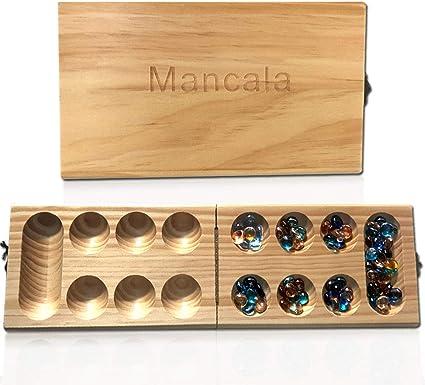 Amazon.com: Mimgo Shop Mancala Board Game, Solid Wood Folding ...