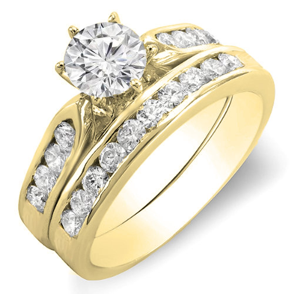 1.00 Carat (ctw) 18K Yellow Gold Round Diamond Ladies Bridal Engagement Ring Set 1 CT (Size 6)