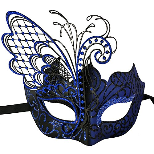 Xvevina Masquerade Mask for Women Shiny Glitter Venetian Pretty Party Evening Prom Mask (Butterfly Black&Blue) -