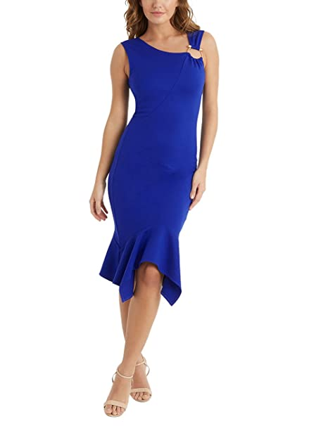 Lipsy Mujers Vestido Ajustado Bajo Estilo Pañuelo Y Detalle De Aro Azul EU 32 (UK