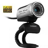 Ausdom AW615 Webcam Full HD usb 1920 x 1080 30fps con micrófono para PC o portátil, skype y videochat