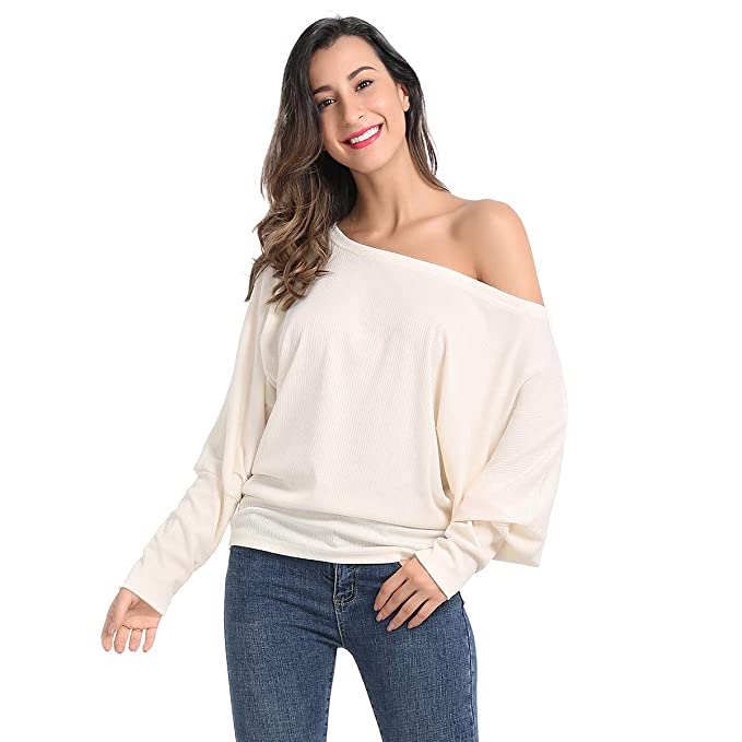 JTANIB Womens Sweater Off Shoulder Long Sleeve Pullover Oversized Knit  Jumper Top d758fb531