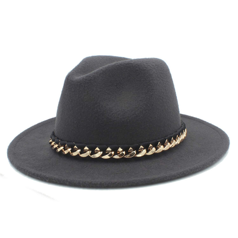 DOSOMI Women Men Wool Felt Water Repellent Outback Fedora Hat with Wide Brim Gangster Trilby Felt Jazz Cap