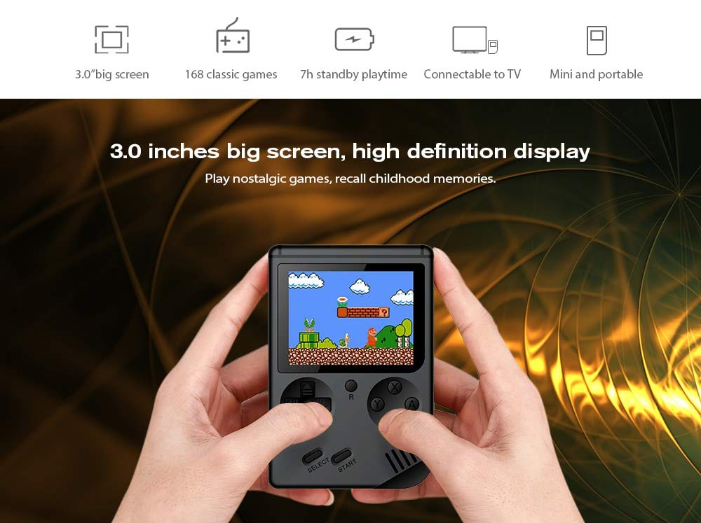 FLYFISH Handheld Game Console, Retro FC Game Console 3 Inch 168 Classic Games , Birthday Present for Children -White by FLYFISH (Image #8)