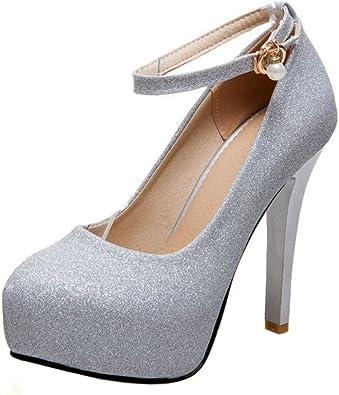 COOLCEPT Femme Mode Sangle De Cheville Soiree Chaussures Plateforme Talon Aiguille Escarpins Taille Grands