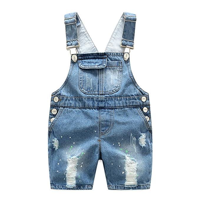 c297ac2771 Amazon.com  Oushiny Unisex Kids  Denim Bib Overall Kids  Short Dungarees  For 0-6  Clothing