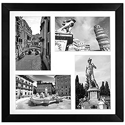 Collage Picture Frame - Displays Four 4x6 Inch Photos (Two Landscape Pictures & Two Portrait Pictures) with Mat and 12x12 inch without the Mat - Top Selling Square Picture Frames