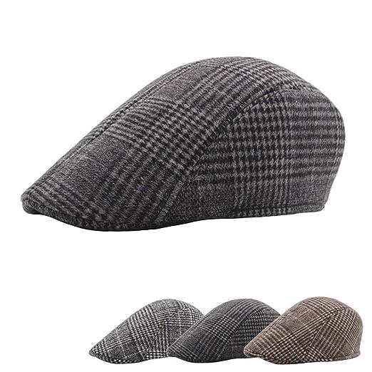 88629b4a8bc3b4 May Bob Men's Newsboy Hat Cotton Flat Retro Beret Ivy Kabe Hunting Hat  Winter Spring Boyfriend