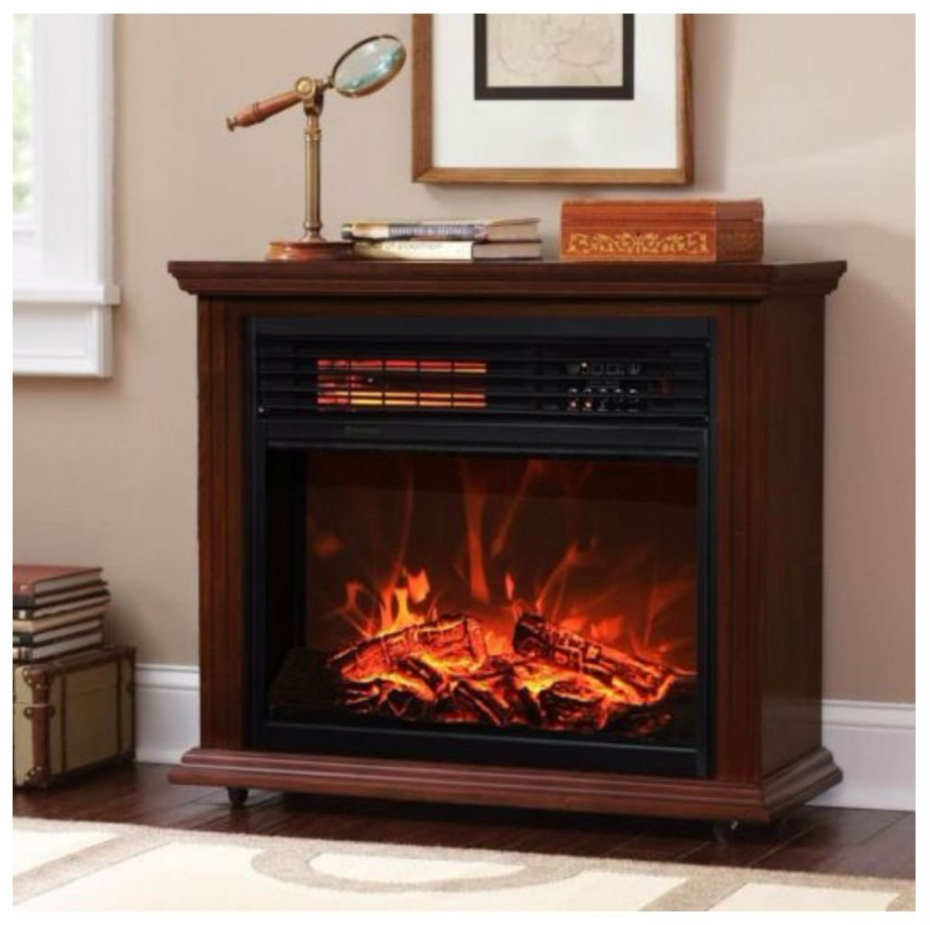 Large Room Electric Quartz Infrared Fireplace Heater Deluxe Mantel Oak / Walnut (DARK WALLNUT) NOT APPLICABLE
