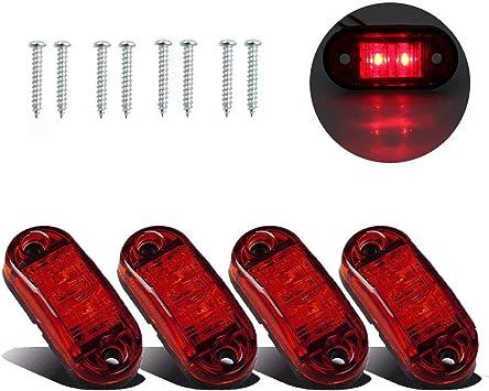4 x Led Red Side Marker Light Lamp 24v Universal Truck Trailer Lorry Chassis Van