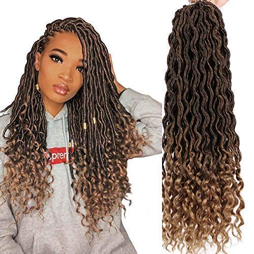 AISI BEAUTY Crochet Braiding Hair 6Pcs/lot Goddess Faux Locs 20 Inch Deep Wave Braiding Hair with Curly Ends Black Mixed Light Brown Heat Resistant Synthetic Hair Extension