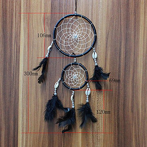 certainPL Dream Catcher, Handmade Lace Feather Wall Hanging Home Decoration Decor Ornament Craft 11.8'' Long (Black) by certainPL (Image #2)