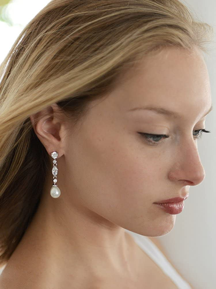 Mariell Linear Cubic Zirconia and Bold Pearl Teardrop Wedding Earrings for Brides – Platinum Plated