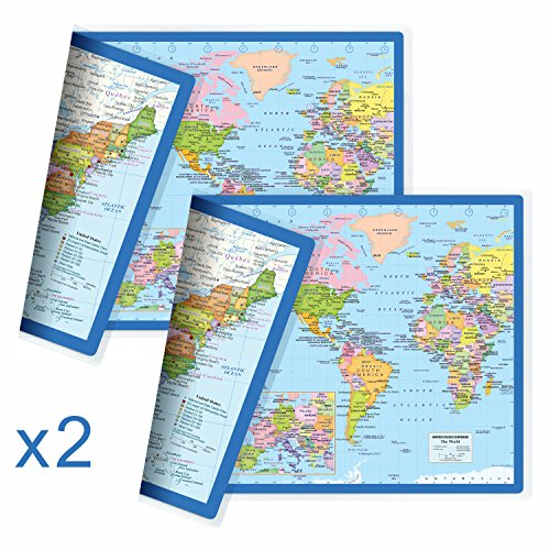NewSpaceView Classic United States USA and World Desk Map, 2-Sided Print, 2-Sided Sealed Lamination, Small Poster Size 11.5 x 17.5 inches (2 Desk Maps) ()