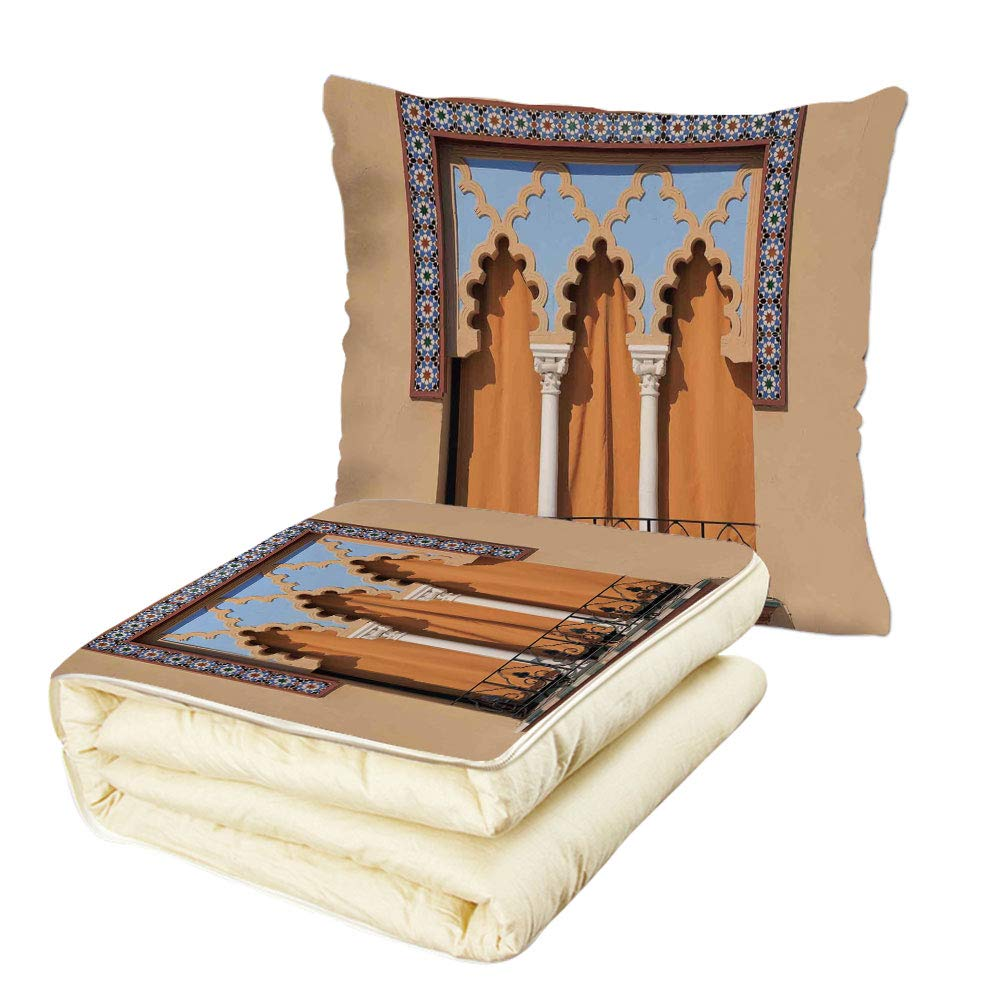 Quilt Dual-Use Pillow Arabian Old Windows in Arabian Style at Cordoba Spain Background Balconies City Multifunctional Air-Conditioning Quilt Sand Brown Light Blue