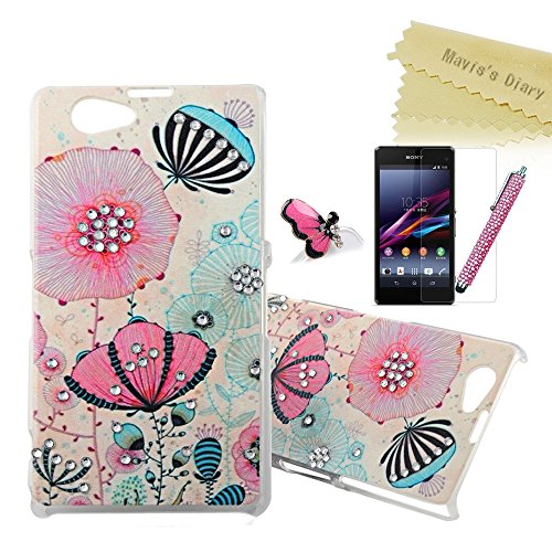 Sony Z1 Mini Case- Mavis's Diary 3D Handmade Pink and Blue Shiny Bling Printed Lotus Flower Crystal Sparkly Rhinestone Diamond Clear Hard Cover Case for Sony Xperia Z1 Compact (Z1 Mini) with Soft Clean Cloth(Package Includes:One Case&One Stylus Pen&One Dust Plug& One Screen Protector))