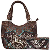 Tooled Leather Laser Cut Concealed Purse Horse Country Western Cowgirl Handbags Shoulder Bags Wallet Set (Coffee)