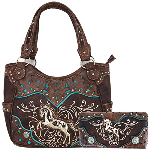 Western Tooled Leather Purse - Tooled Leather Laser Cut Concealed Purse Horse Country Western Cowgirl Handbags Shoulder Bags Wallet Set (Coffee)