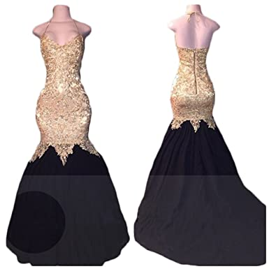 Ri Yun Sexy Halter Backless Mermaid Prom Dresses Long 2018 Evening Gowns For Women With Gold Appliques at Amazon Womens Clothing store: