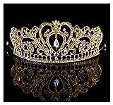 HerZii Gold Plated Crystal Rhinestone Wedding Tiara Crown in Gold Headpiece Wedding Bridal Crown
