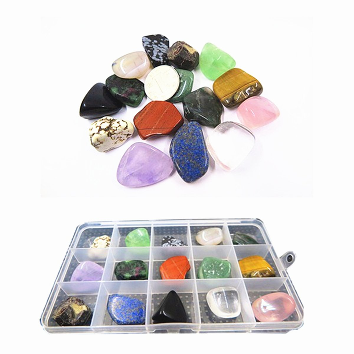 YIEASDA 15-Stone Mixed Crystals Kit, Healing Chakra Nature Rocks Stones Reiki Meditation Rituals Spiritual Metaphysical Home Decor Teaching