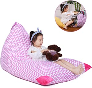 Stuffed Animal Bean Bag Storage for Kids and Adults. Premium Canvas Bean Bag Chair Cover - Cover ONLY(Chevron Print Pink 200L/52 Gal)