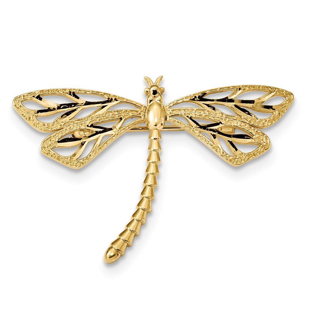 14K Diamond-cut Polished & Satin Dragonfly Pin