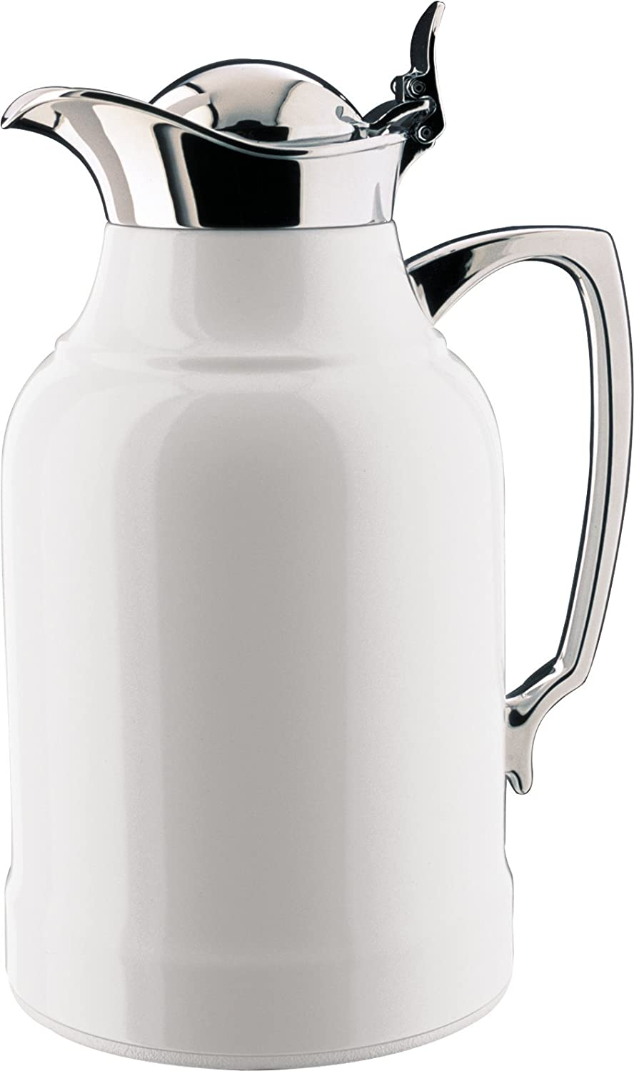 alfi Opal Glass Vacuum Lacquered Chrome Plated Brass Thermal Carafe for Hot and Cold Beverages, 1.0 L, White 61tZYjUzY0L