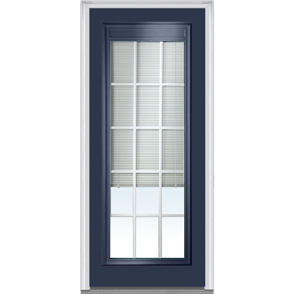 Right Hand In-swing Prehung Door 32 x 80 Full Lite Clear Low-E Glass with RLB and GBG National Door Company Z010554R Steel Naval